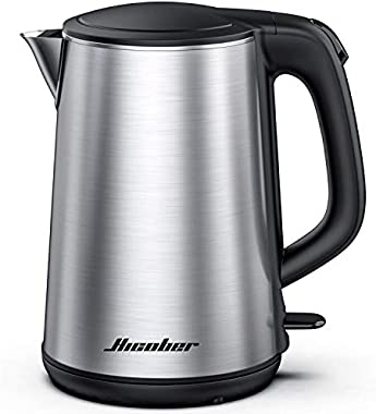 Electric Kettle, Hicober Stainless Steel Electric Water Kettle, Cordless Portable Kettle Water Boiler 1.5L Hot Water Kettle for Tea and Coffee