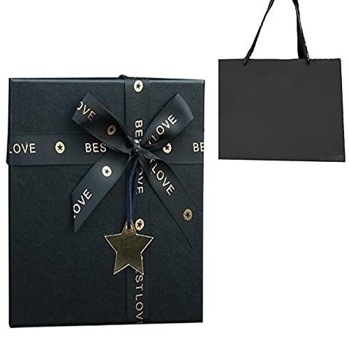Creativa Caja de Regalo de Papel Negro Caja de Regalo Rectangular Rígida Caja de Regalo Negro Caja de Regalo con Lazo de Cinta de Cajas Decorativas para Regalo de Cumpleaños Boda 29 * 21 * 9cm