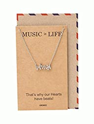 music is life silver necklace with notes