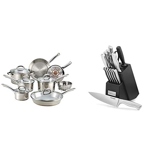 T-fal C836SD Ultimate Stainless Steel Copper Bottom 13 PC Cookware Set, Piece, Silver & Cuisinart C77SS-15PK 15-Piece Stainless Steel Hollow Handle Block Set