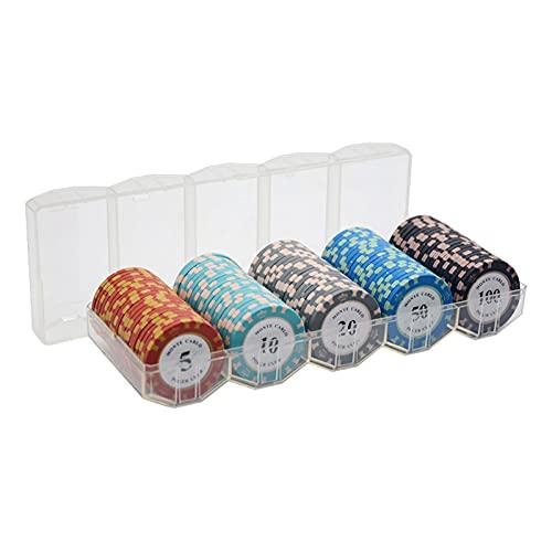 WERTYU 100 Pcs Juego De Fichas PláStico, Mini Casino PortáTil, Fichas De Poker De Valores Distintos Fichas Poker Numeradas (Color:B)