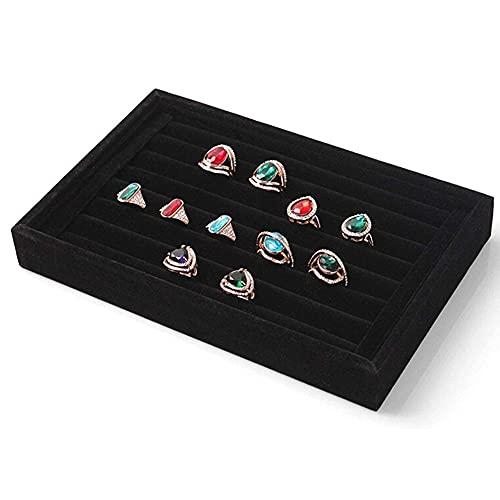 Vassoio per gioielli 7 slot, scatola portaoggetti per anelli, custodia per vassoio per esposizione di gioielli con anello, anelli impilabili in velluto, orecchini, espositore per espositori vassoio