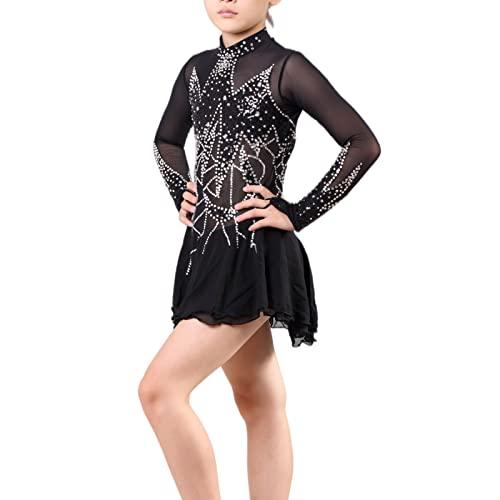Q&M Vestido de Danza Ballet para Mujer Manga Larga Gasa Maillot de Patinaje Artistico Cuello Redondo Disfraz de Gimnasia Ritmica