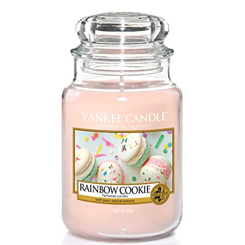 Yankee Candle Candela profumata in giara grande   Biscotto arcobaleno   Durata Fino a 150 Ore