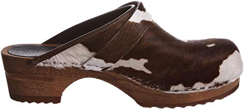 Sanita Damen Caroline open Clogs, Mehrfarbig (Brown Cow 3), 38 EU