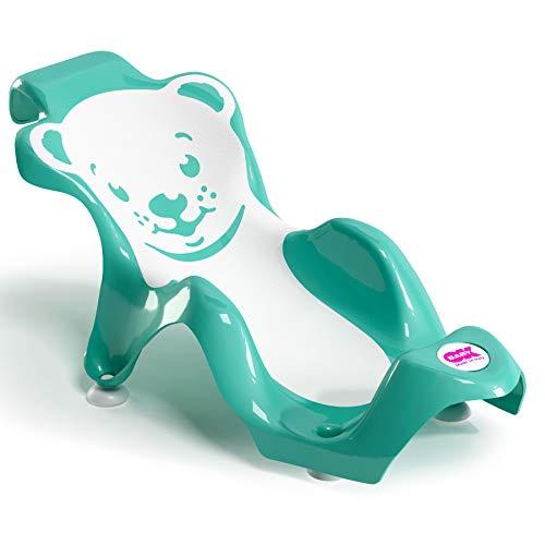 OKBABY Buddy - Hamaca de baño ergonómica con asiento de goma antideslizante para el baño del bebé - para bebés de 0 a 8 meses (8 kg) - Turquesa