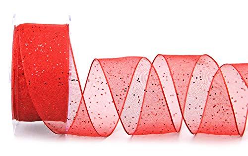 finemark Dekoband (1,25€/m) Glitzer ROT 20 m x 40 mm Stoffband Transparent glänzend Organza mit Drahtkanten elegant Weihnachten Advent Geburtstag Premium Glitter Ribbon