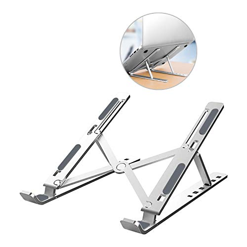 """ZXK CO Laptop Stand, Aluminum Portable Computer Riser Tablet Stand Ergonomic Height Angle Adjustable Laptops Holder Compatible with MacBook Air Pro,Dell,HP,Lenovo,Samsung,More 10-15.6"""" Notebooks"""