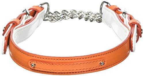 BuckettS(バケッツ) メイフェアライン ハーフチョークチェーンカラー Lサイズ オレンジ/ホワイト [首輪]