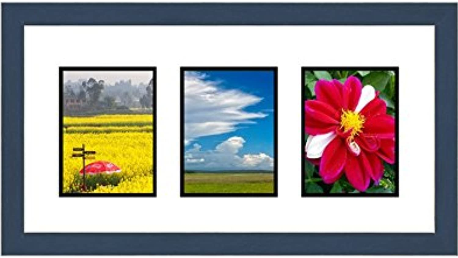 Frames by Mail Triple Square Opening Collage Frame for 3.5  x 5  Photo, Navy bluee