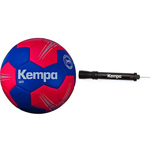 Kempa Leo Bälle, Ocean blau/Lighthouse rot, 2 & Ballpumpe 2-Wegepumpe 1800, schwarz