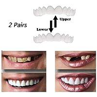 2ペアの化粧歯、スナップオンスマイル-ベニア、化粧歯のパーフェクトスマイルクリップ