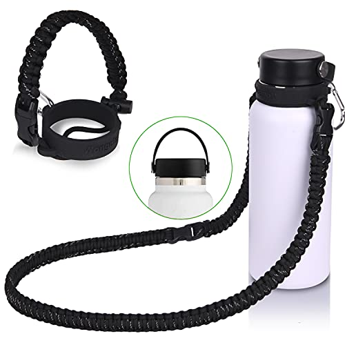 Wongeto 2.0 Paracord Handle with Shoulder Strap Compatible with Hydro Flask 2.0 Wide Mouth Water Bottle 12oz to 64oz-Water Bottle Strap Carrier for Gym School Running Walking Camping (Black)