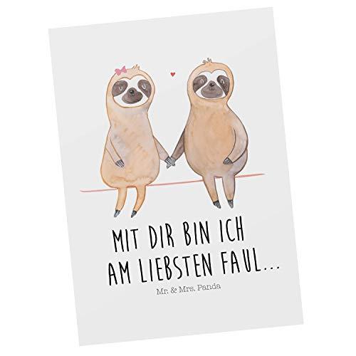 Mr. & Mrs. Panda Grußkarte, Karte, Postkarte Faultier Pärchen mit Spruch - Farbe Weiß