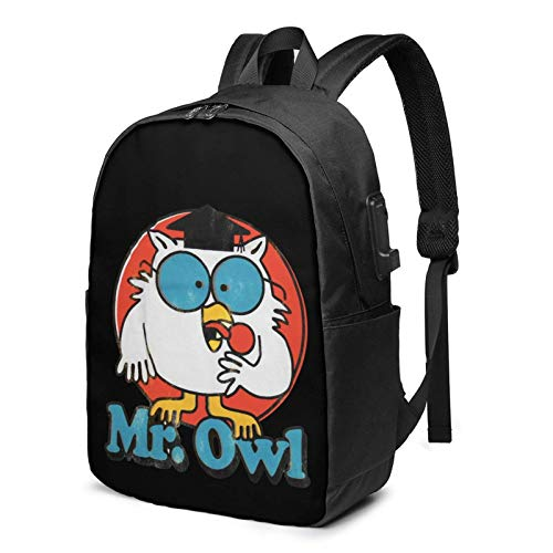 Travel Laptop Backpack, Mr. Owl Travel Laptop Backpack College School Bag Casual Daypack with USB Charging Port