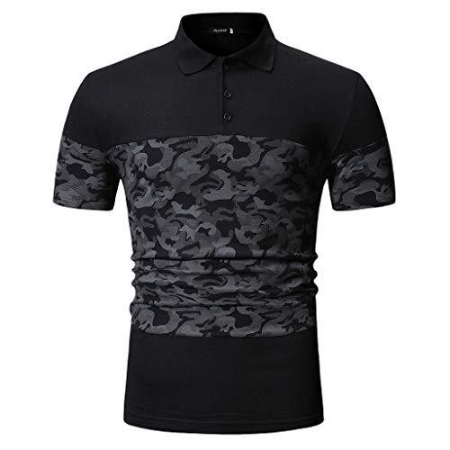 Celucke Herren Polohemd Poloshirts Bedrucken Slim Fit, T Shirt Männer Basic Kurzarm Polohemden Kurzarmhemd Polo Hemd (Schwarz,XL)