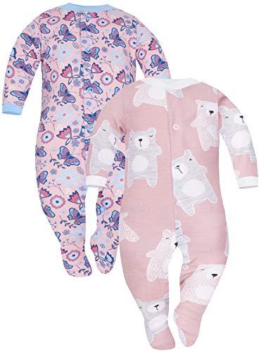 Sibinulo Nino Nina Pijama Bebé Pelele de Algodón Pack de 2 Koala Rosa Prado Rosa 62(0-3 Meses)