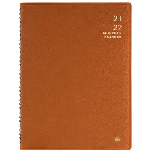 "2021-2022 Monthly Planner - Monthly Calendar/Planner 2021-2022 with Faux Leather, 8.86"" x 11.4"", Jul 2021 - Dec 2022, 15 Note Pages, Twin-Wire Binding, Pocket, Monthly Tabs, Perfect Organizer - Brown"