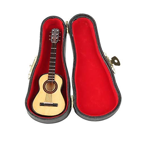 Mini Gitarre, Miniatur Modell Gitarre aus Holz mit Ständer und Koffer, Mini Musikinstrument für Miniatur Puppenhaus, Modell, Heimdekoration
