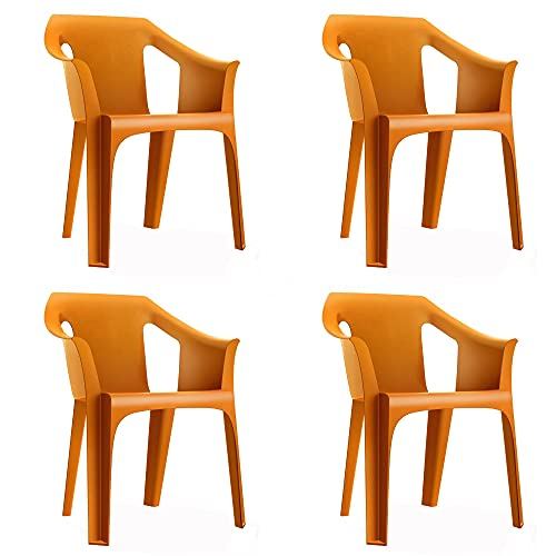 RESOL Cool Set 4 Sillas de Jardín con Reposabrazos Apilable | Terraza, Patio, Exterior, Comedor, Reuniones | Diseño Moderno Ligera y Resistente Filtro UV - Color Naranja