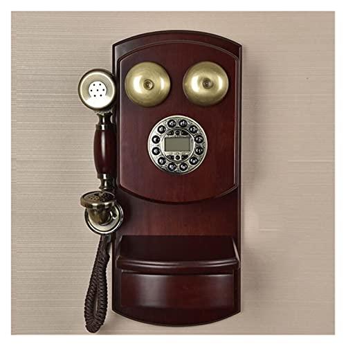 TAIJU-CHENCHEN Teléfono antiguo de la vendimia retro pasado de moda con el dial del botón for la decoración del hogar, manos libres for el hogar, antiguo Mecanical Bell Rotary Dial Landline for el hog