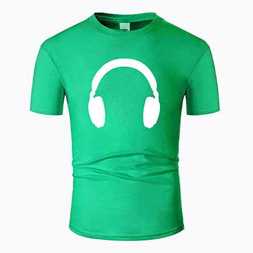 CHWEI Knitted Hat Camisetas,Algodón De Moda Casual De Manga Corta Camiseta Divertida O-Cuello Tela Cómoda Estilo De Calle Hombres Mujeres Auriculares De Impresión