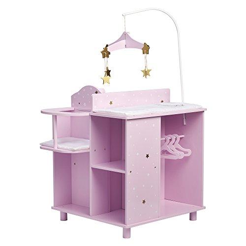 Olivia's Little World Table à Langer Poupon poupée Twinkle Stars Princess Rangement Bois Jeu TD-0203AP