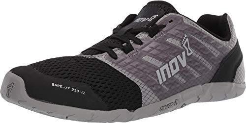 Inov-8 Womens Bare-XF 210 V2 - Barefoot Minimalist Cross Training Shoes - Zero Drop - Wide Toe Box - Versatile Shoe for Powerlifting & Gym - Calisthenics & Martial Arts - Grey/Black 8 W US