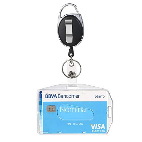 Vicloon Ausweishüllen, 1 Stück ID Kartenhalter mit Retractable Schlüssel Jojo, Ausweishalter mit Clip, Aus Plastik Hartplastik, Horizontal/Vertikal 2 Arten Zum Tragen, für ID Badge Holder