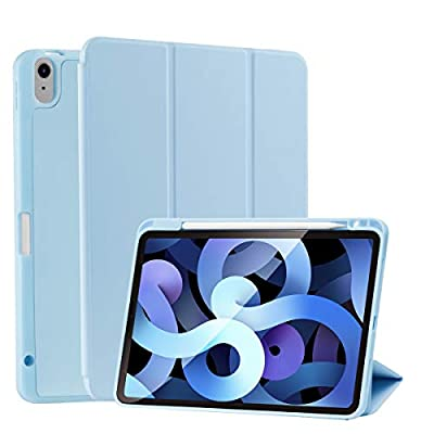 SIWENGDE Case for iPad 10.9 2020,Full Body Protective Rugged Shockproof for iPad Air 4 Case,Tri-Fold Folding Smart Cover for iPad 10.9 Inch,Support Apple Pencil Charging-Light Blue