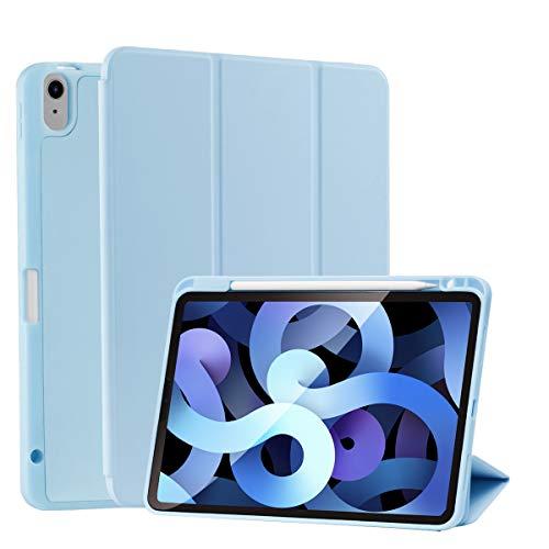 SIWENGDE Hülle für iPad 10.9 2020,Ganzkörperschutz Rugged Shockproof für iPad Air 4 Hülle Tri-Fold Folding Smart Cover für iPad 10,9 Zoll Unterstützt Apple Pencil Charging (Eisweiß)