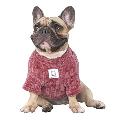 iChoue Pet Dog Winter Warm Sweater Clothes Turtleneck for French Bulldog Pug Boston Terrier Corduroy Cold Weather Pullover Coat Shirt - Purple/Size L