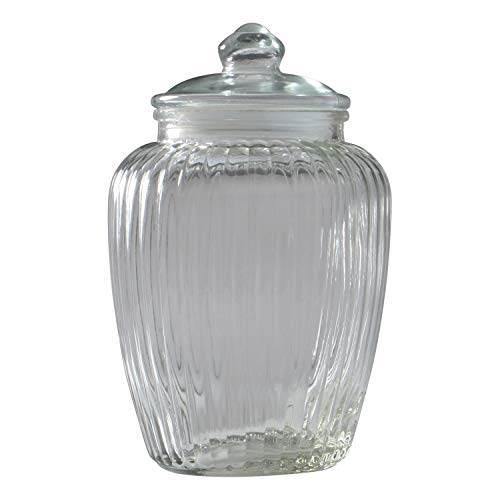 不二貿易 保存容器 キャニスター ガラス Lサイズ 直径15.5cm 目安容量約2380ml クリア マロン 71502