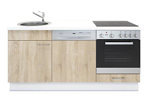 Miniküche mit Geschirrspüler, Spüle, Ofen, Kochfeld, Arbeitsplatte und Unterschränke - Eiche Dekor - Rechts ausgerichtet
