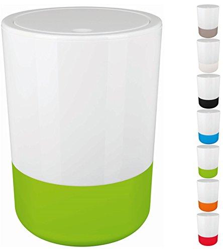 Spirella Design Kosmetikeimer Moji Bad Treteimer Schwingdeckeleimer Abfallbehälter mit Schwingdeckel 5 Liter mit Silikonboden Weiß/Grün
