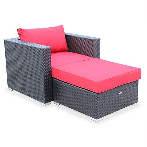 Muebles de jardín, sillón Individual de Exterior, Negro Rojo, 1 Plaza, Rattan sintético, Genova