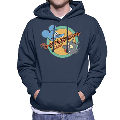 The Simpsons Itchy And Scratchy Show Men's Hooded Sweatshirt Navy Blue