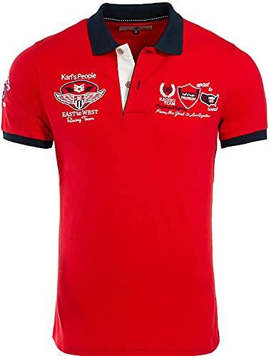 Karl´s People Kurzarm Poloshirt für Herren XL, Rot 100% Baumwolle by Carisma • Herren Polo Shirt mit Stickerei • Angenehmes Regular Fit Shirt für Büro und Freizeit