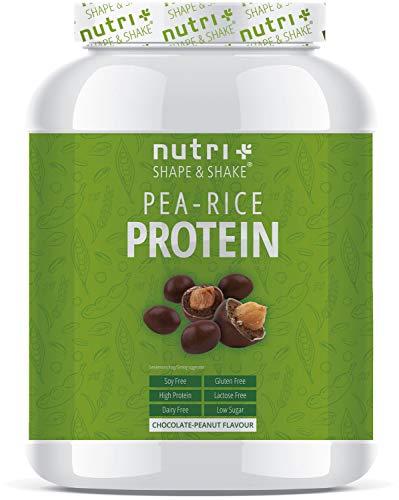 Veganistisch Proteïne Eiwitpoeder chocolade pinda's - Nutri-Plus 1kg Vegan Pea Rice Protein Powder - Erwten & rijsteiwitpoeder zonder soja, gluten, lactose