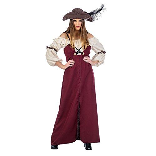 Elbenwald Piratin Grace Damen Kostüm 3-TLG. Kleid Bluse Hut weiß rot - S