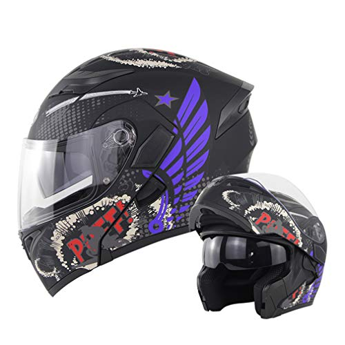 BLLJQ Integralhelm Motorrad Helm, Klapphelm Fullface Helm, mit Doppelvisier, für Damen Herren Erwachsene Roller, DOT Zertifiziert,Lila,L