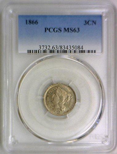 1866 P Nickel Three Cent MS-63 PCGS