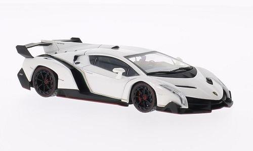Lamborghini Veneno, weiss mit rotem Dekorstreifen , Modellauto, Fertigmodell, Kyosho 1:43