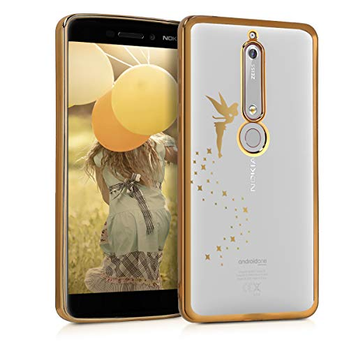 kwmobile Hülle kompatibel mit Nokia 6.1 (2018) - Handyhülle - Handy Hülle Fee Gold Transparent