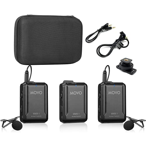 Movo WMX-1-DUO 2.4GHz Dual Wireless Lavalier Microphone System Compatible...