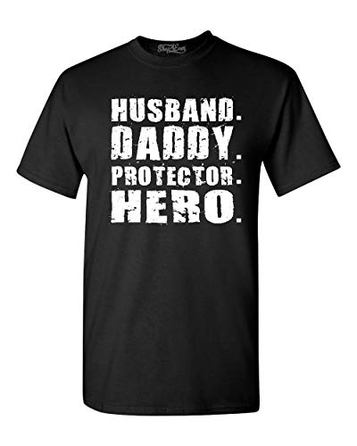 shop4ever Husband. Daddy. Protector. Hero. T-Shirt X-Large Black 0