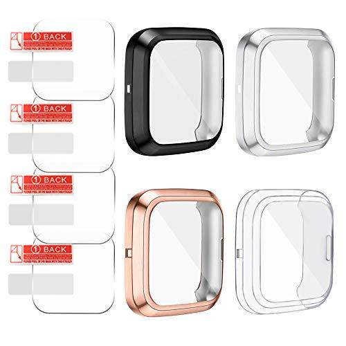 AFUNTA 4 Stks TPU Screen Protector & 4 Stks Screen Protector Case Compatibele Fit-bit Versa 2, Zachte Ultra Slim Volledige Beschermende Cover Case voor Versa 2 Smartwatch Alleen