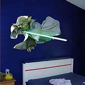 Yoda Home Decor - Yoda Jedi Star Wars Wall Decal Mural for Kids Room Removable Dorm Decor Apartment Nursery Wall Decals Light Saber Stickers n79