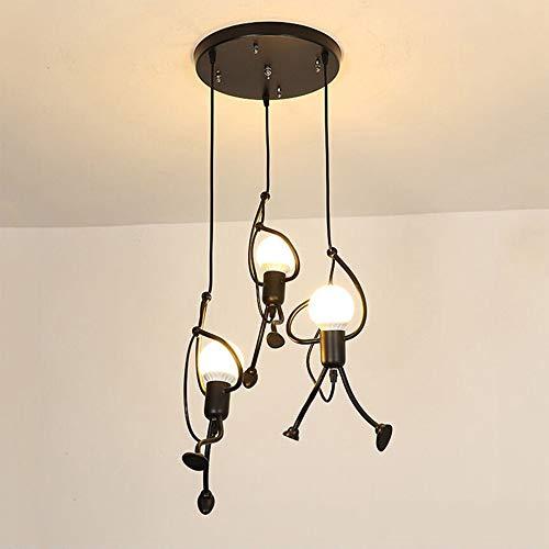Lámpara de techo Planchar E27 Moderno Creativo de dibujos animados de hierro Làmpara colgante Lámpara de sala Art Deco para Dormitorio, Escalera, Pasillo, Restaurante, Cocina, Foyer