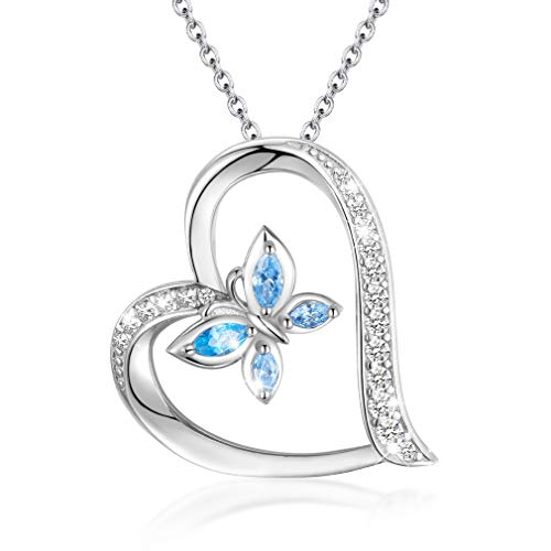 EUDORA Colgante de Mariposa para Collar Corazón Plata de Ley 925, Mujer Collar de Mariposa Regalos...